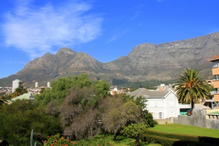 The Table mountain view from Villa Marias charming garden