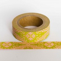green-demask-washi-tape